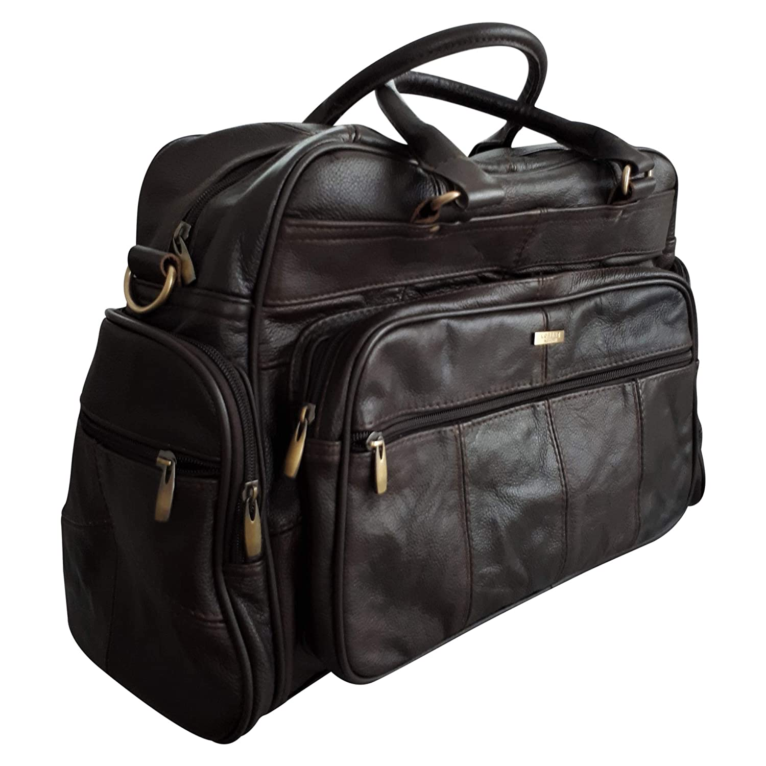 6d44d4d74a MENS LEATHER HOLDALL LUXURY TRAVEL BAG GYM SPORTS BAG LADIES FLIGHT BAG  CABIN BAG WEEKEND BAG IN BROWN  Amazon.co.uk  Luggage