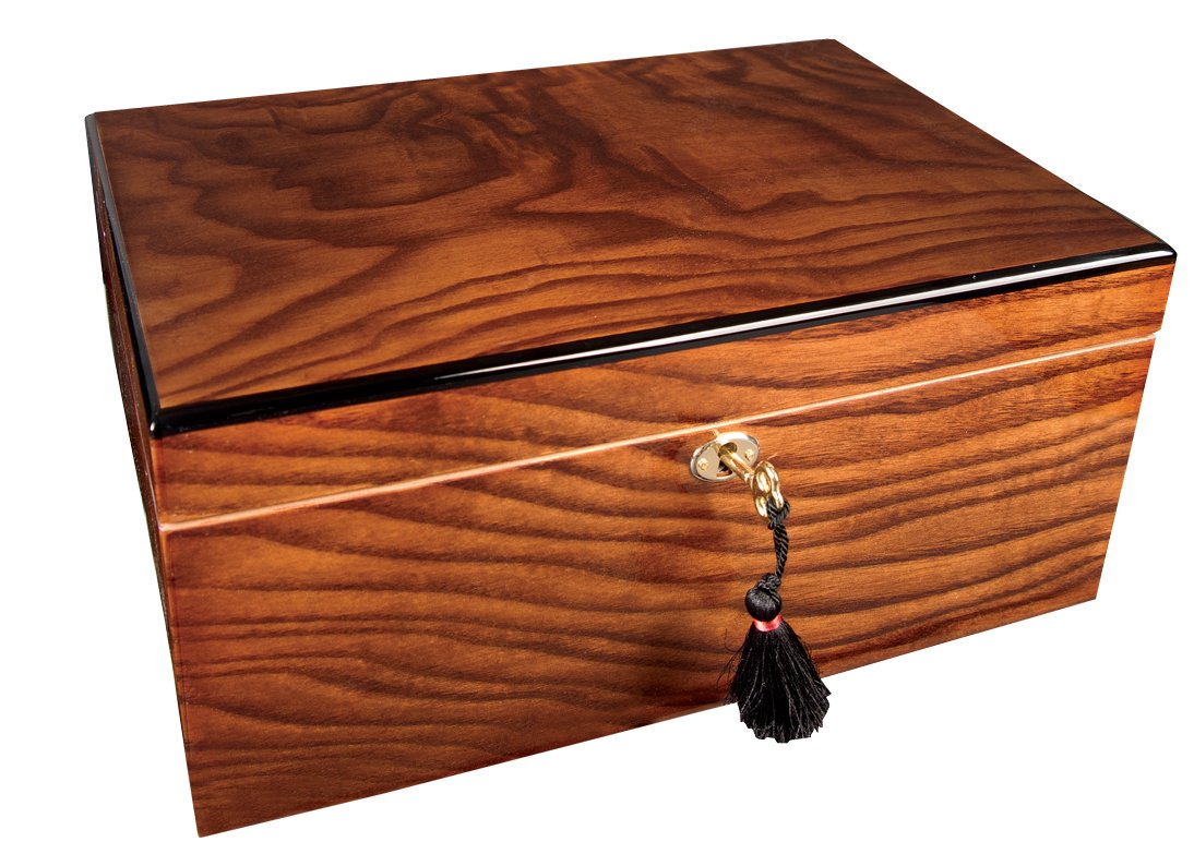 Savoy Medium Ash Burl Humidor - Holds 50 Cigars by Savoy