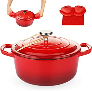 KUTIME Cast Iron Dutch Oven 3 Quart Enameled Dutch Oven, Stock Pot with Lid, Red