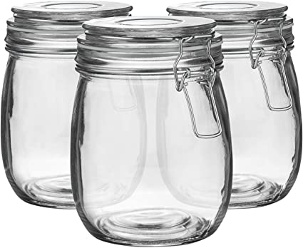 2/l Junta Transparente Cristal Argon Tableware Juego de Botes de Cocina con Cierre herm/ético Pack de 3