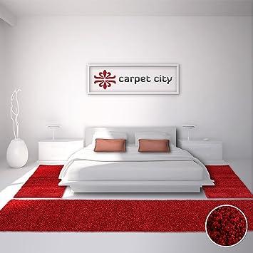 Bettumrandung Läufer Teppich Shaggy Hochflor Langflor Einfarbig Rot  Schlafzimmer 3 Teilig 2x 80x150cm/ 1x