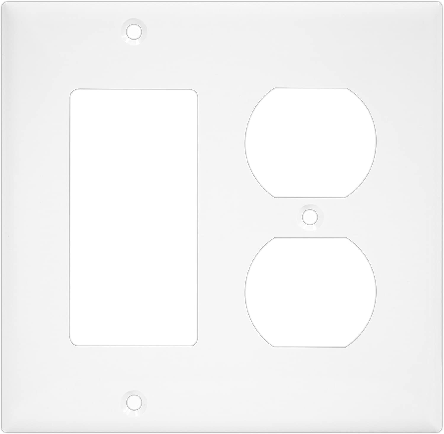 """ENERLITES Combination Duplex Receptacle Outlet/Decorator Switch Wall Plate, Mid-Size 2-Gang 4.88"""" x 4.92"""", Polycarbonate Thermoplastic, 882131M-W, White"""