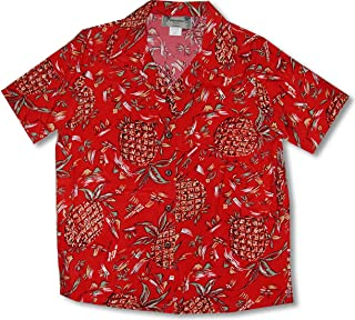 product image for Paradise Found Women's Pineapples Original Kamehameha Aloha Shirt, Red, M