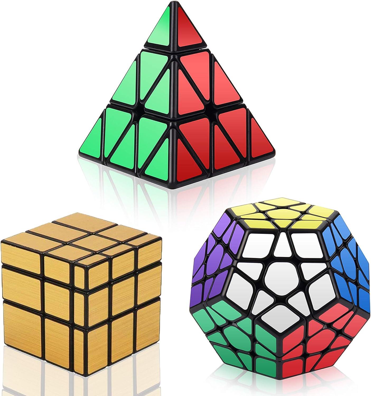 Vdealen Cubos de Velocidad, Speed Cube Set de Pirámide Megaminx Mirror Cube Smooth Magic Cube Colección de Rompecabezas, Oro