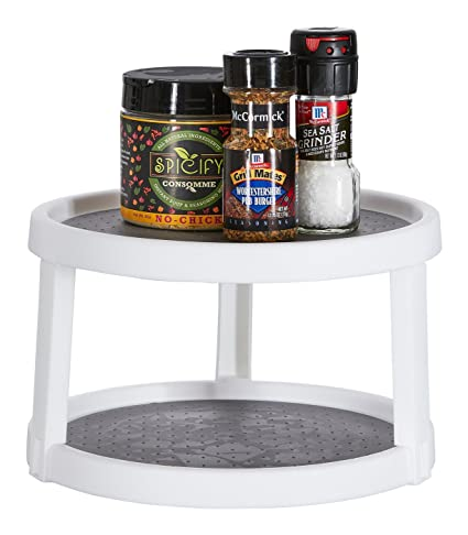 Home Intuition Lazy Susan Turntable 2 Tier Non Skid For Cabinets And Pantry