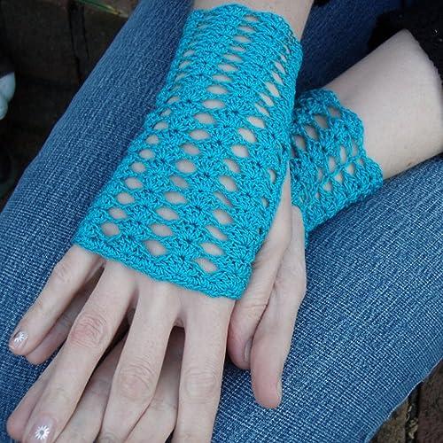Amazoncom Fingerless Crochet Gloves Parakeet Blue Handmade Lace