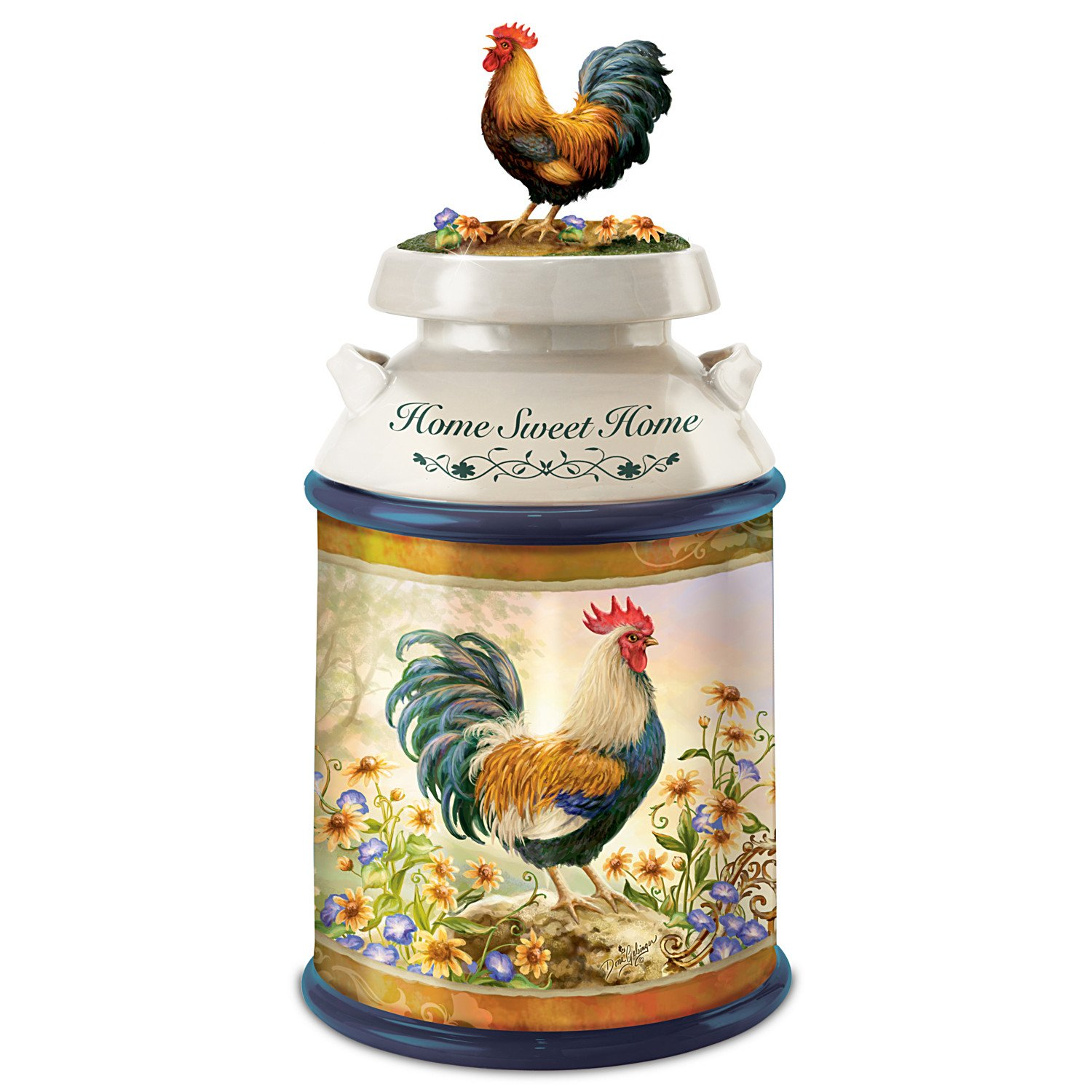 Dona Gelsinger Country Rooster Art Cookie Jar With Free Cookie Cutter And Recipe by The Bradford Exchange