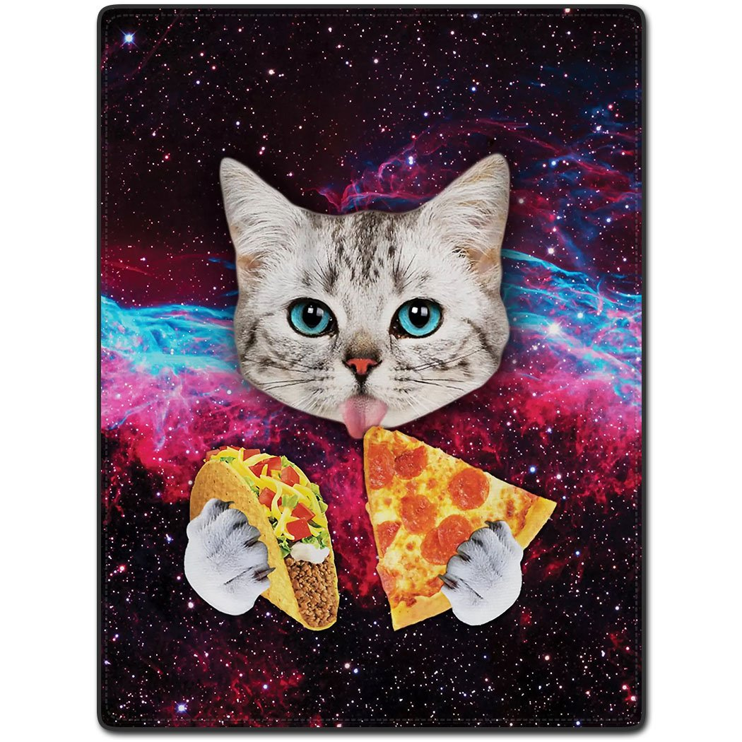 TSlook 40x50 Blankets Funny Cat Starry Pizza Eat Beautiful Gorgeous Comfy Funny Bed Blanket