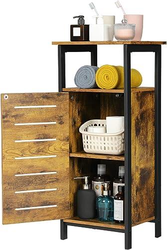 KICODE Storage Cabinet, Living Room End Table, Rustic Side Table with Storage Shelf, Free Standing Floor Cabinet for Bathroom, Living Room, Hallway, Metal Frame