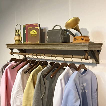 Amazon.com: Wall-Mounted Coat Rack Retro Hook Wall Shelf ...