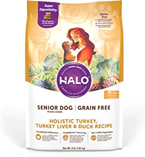 product image for Halo Grain Free Natural Dry Dog Food, Senior Turkey, Turkey Liver & Duck Recipe