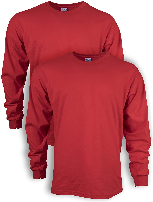 Gildan Men's Ultra Cotton Long Sleeve T-Shirt, Style G2400, 2-Pack
