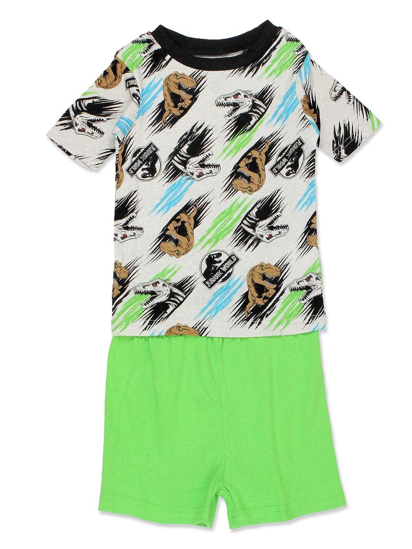 Jurassic World Dinosaur Boys 2fer 4 Piece Short Sleeve Tee Shorts Cotton Pajamas Set