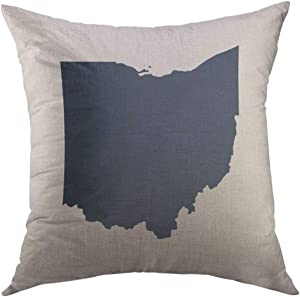 Mugod Decorative Throw Pillow Cover for Couch Sofa,Icon Map of the U State Ohio Outline Abstract Home Decor Pillow Case 18x18 Inch