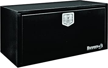 24x24x24 Inch Buyers Products Black Steel Underbody Truck Box w// T-Handle Latch
