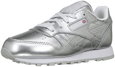 4ecaa2a4743 Reebok Classic Leather Metallic Sneaker Silver White 11 M US Little Kid