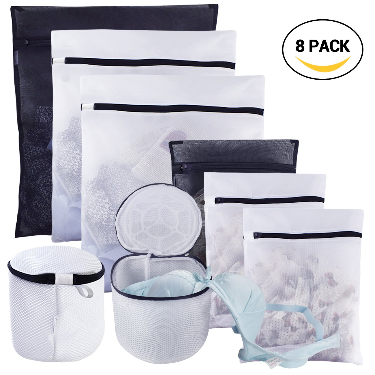 Mesh Laundry Bags, with Two Thicker Bra Wash Bags, Travel Storage Organizer with Premium Zipper, Clothing Washing Bags for Lingerie,Delicate, Laundry, Hosiery, Stocking, Underwear Pack of 8 homyfort