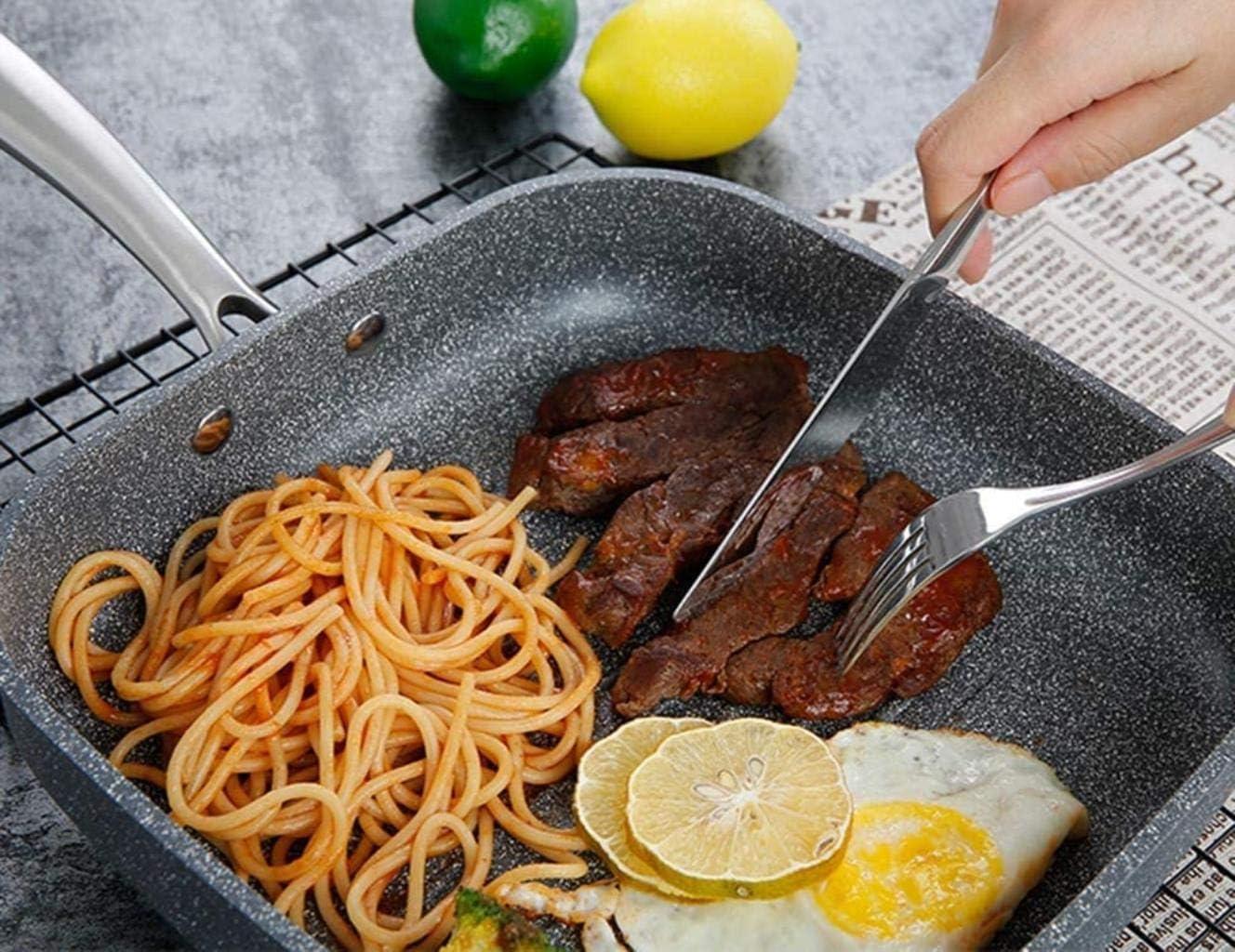 XUHRA Alliage D'Aluminium Casserole Poêle Antiadhésive Crêpes Frites Steak Frites Cuisinière Barbecue De Pique-Nique Pratique pour Wok Propre,Gris,26Cm Gris