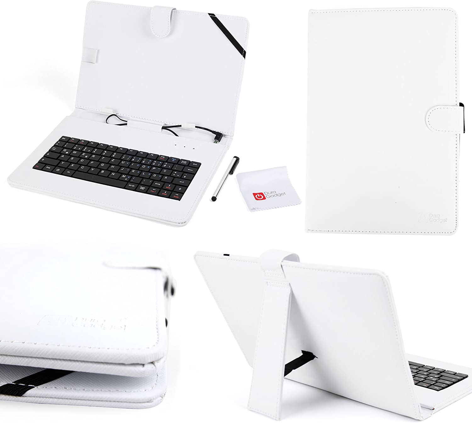 DURAGADGET Bright White Faux Leather Case/Cover with Built-in Micro USB German (QWERTZ) Keyboard - Suitable for Acer Iconia Tab 10 A3-A20