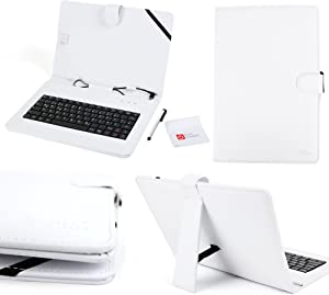 DURAGADGET Bright White Faux Leather Case with Built-in Micro USB German (QWERTZ) Keyboard - Suitable for HP Omni 10| ElitePad 900 G1| Slate 7HD/HP Slate 7 Extreme & Slate 10 HD Tablet