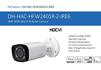 Dahua Technology cámara Bullet HDCVI 4 MP 2.7 – 12 mm motorizada 120dB ir60 – Pro