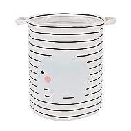 NASHRIO Laundry Storage Basket Hamper, Functional Cotton Foldable Round Home Organizer Bin for Toddler Nursery, Toys, Infant Clothing Trendy Stylish Baby Shower Gift Baskets (Blue Striped Elephant)
