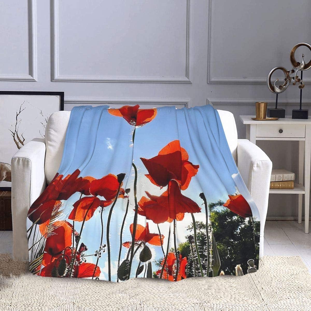 Manta de forro polar amapolas de campo, nubes de cielo, hierbas y orejas de verano, manta de felpa ultra suave, cálida para sofá, cama, oficina, sala de estar, 127 x 152 cm