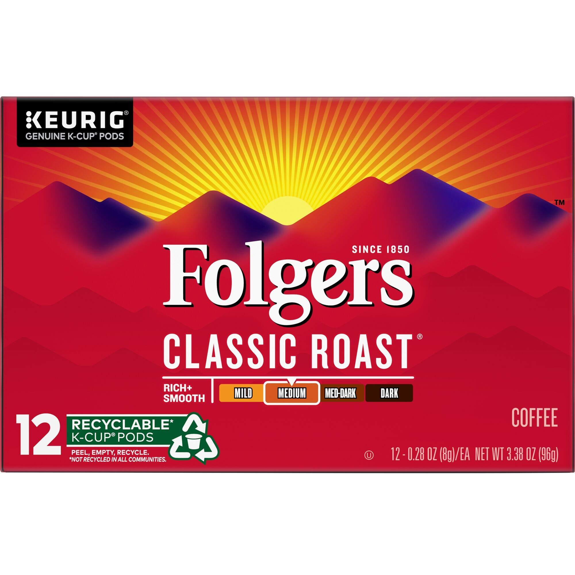 Folgers Classic Roast Medium Roast Coffee, 72 K Cups for Keurig Makers