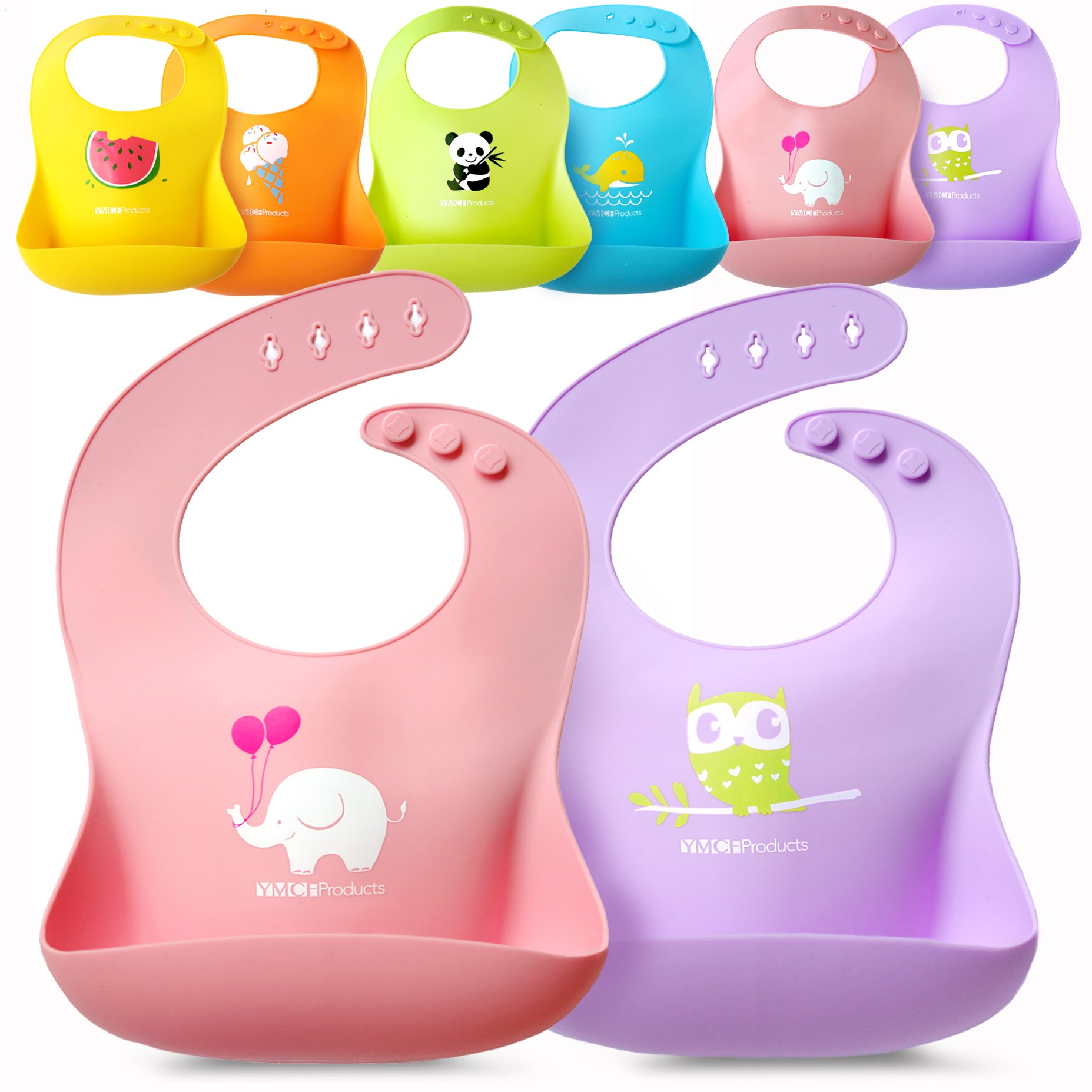 Single Set of 2 Waterproof Silicone Baby Bib Light Weight Comfortable Easy Wipe(Pink/Purple)