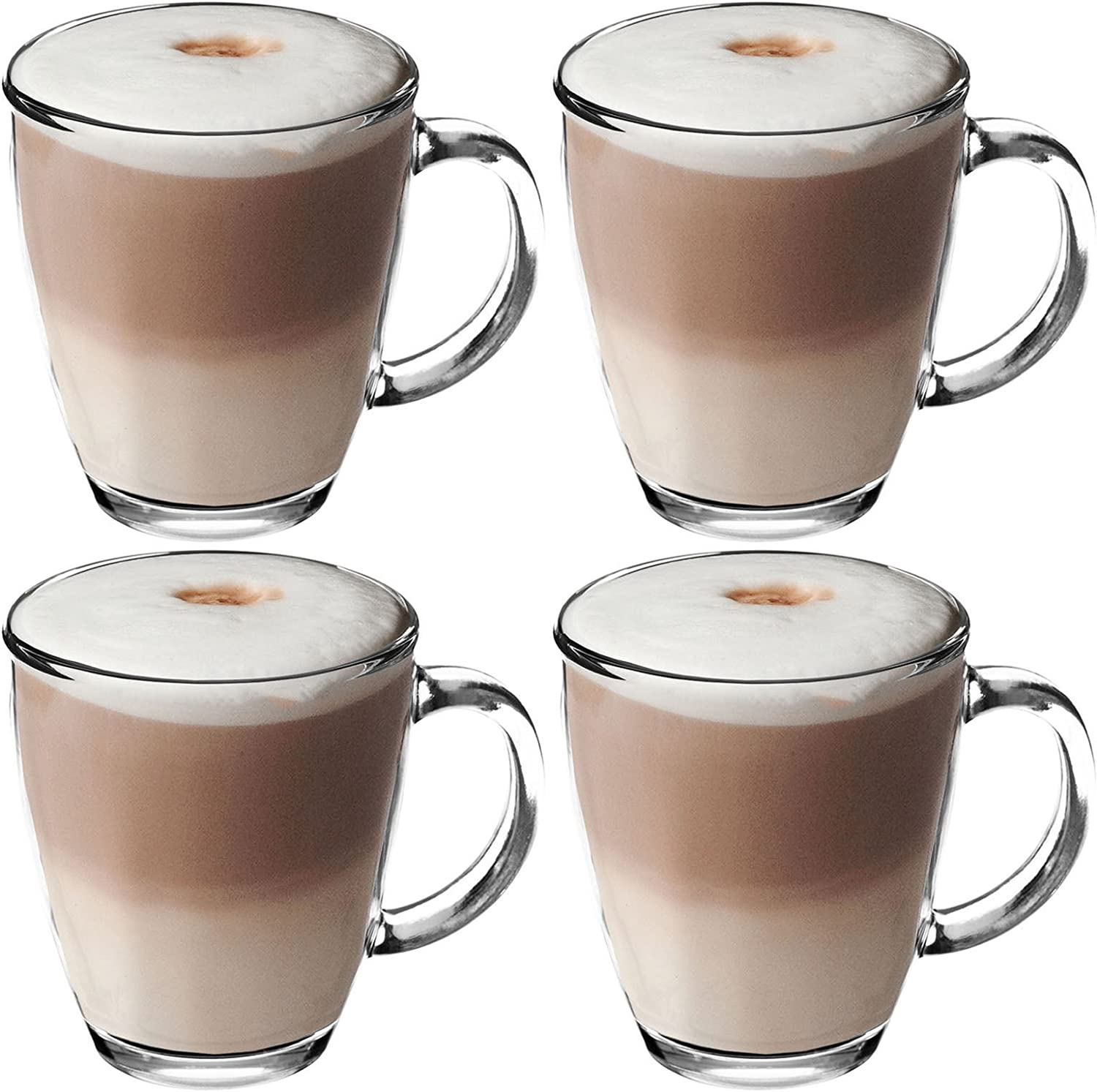 Get Goods 350ml Latte Glasses Thick Toughened Glass Mugs Coffee Tea Espresso Cappuccino Dishwasher Safe 4 Glasses Amazon Co Uk Kitchen Home