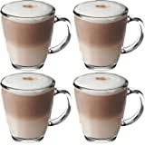 Get Goods 350ml Latte Glasses - Thick Toughened Glass Mugs - Coffee / Tea / Espresso / Cappuccino - Dishwasher Safe (4 glasses)