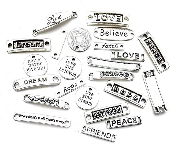 20 LOVE Cursive Letters Word Charms Silver Metal Message Connectors Components