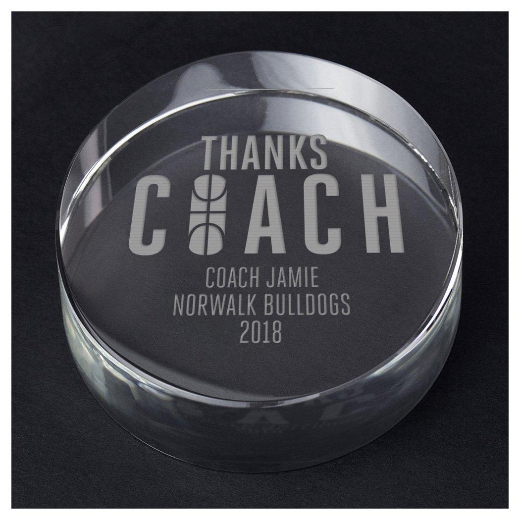 ChalkTalkSPORTSバスケットボールPersonalizedクリスタル賞とギフト| Thanks Coach B07DGH76M5