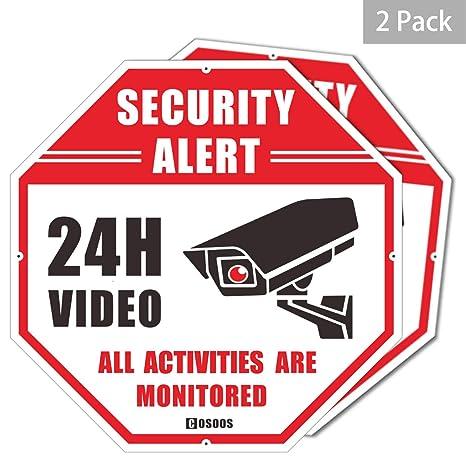Letrero de Seguridad de Video, Paquete de 2 Alerta de Seguridad CCTV, Oct¨¢gono, 12