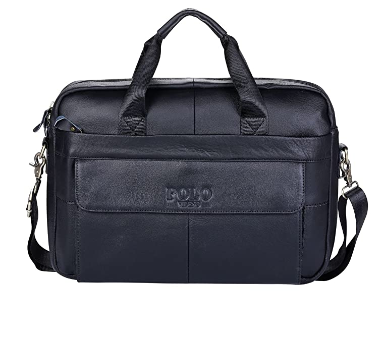 acaea37adb00 POLO VIDENG M278 Men s Classic Top Cow Genuine Leather Business Handbag  Briefcase Shoulder Messenger Satchel Bag For Laptop