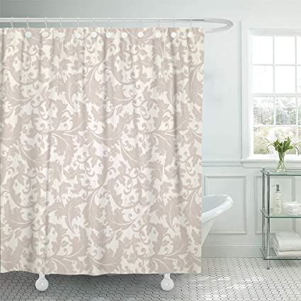 Emvency Shower Curtain Luxury Victorian Beige Pattern On Brown Antique Curtains Sets With Hooks 60