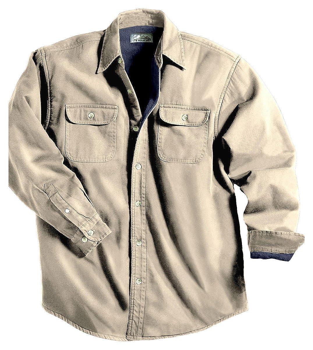 TRM Men's Cotton Tahoe Stonewashed Fleece Denim Shirt Jacket (10 Color, XS-6XLT) 869