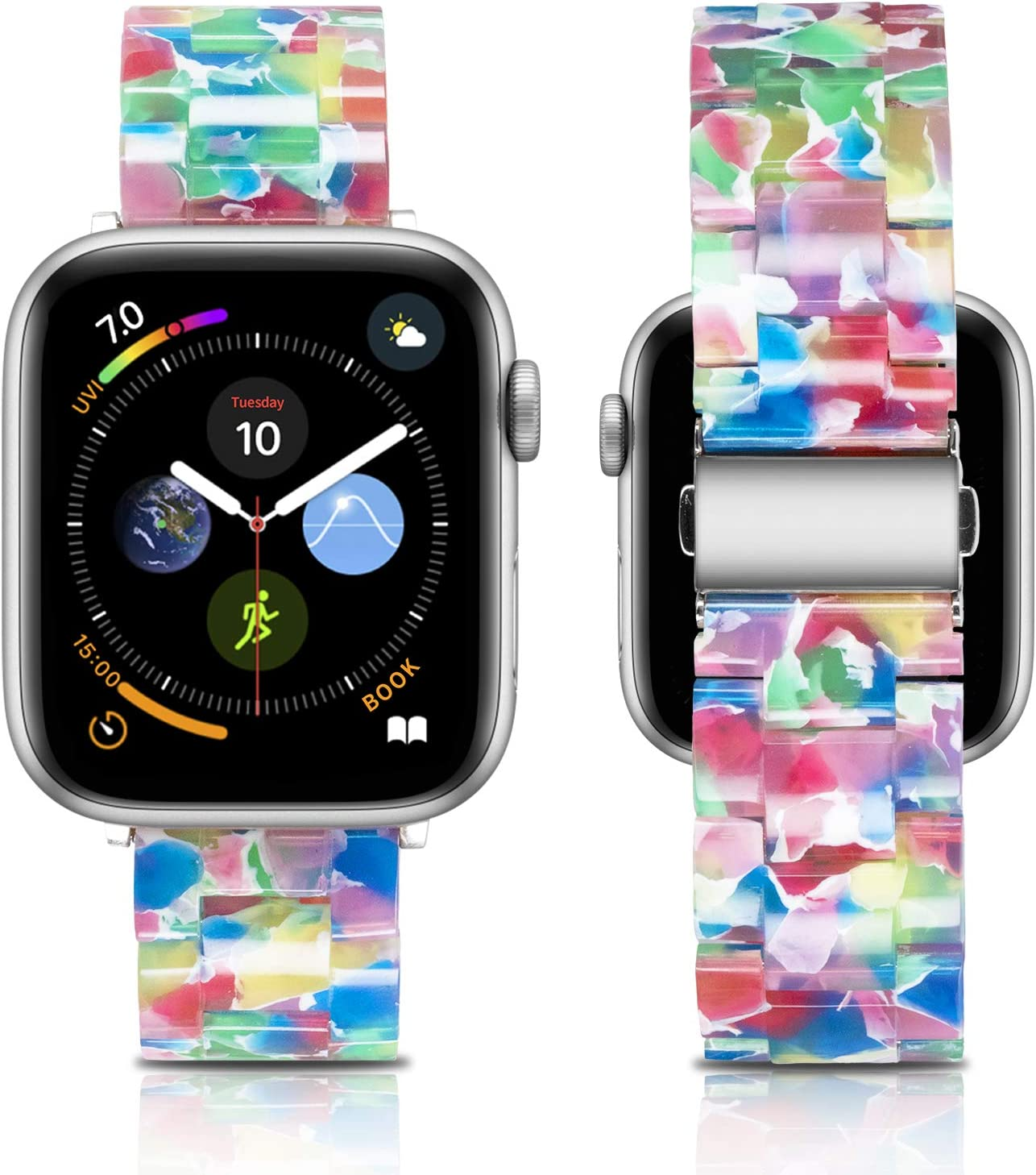 Caunedy Compatible with Apple Watch Band 38mm/40mm-Light and Waterproof Fashion Replacement Resin Band with Stainless Steel Buckle for Series iWatch 6/5/4/3/2/1/SE (Coloured Glaze, 38/40mm)