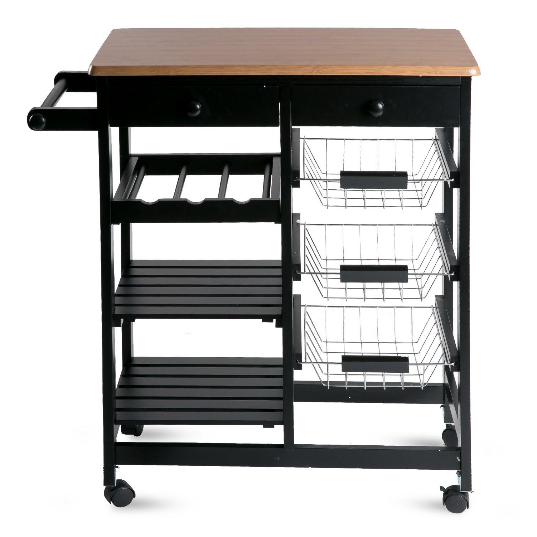 Merax WF036471BAA 26'' Portable Storage Island Kitchen Trolley Drawers, Microwave Cart, Black by Merax (Image #2)