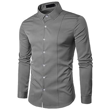 Kuson Herren Langarm Hemd einfarbig klassisch Hemden Business slim, Grau,  Gr. S