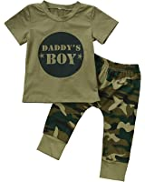 Urkuteba 2 Styles Daddy's Baby Boy Girl Camouflage Short Sleeve T-Shirt Tops+Green Long Pants Outfit Casual Outfit