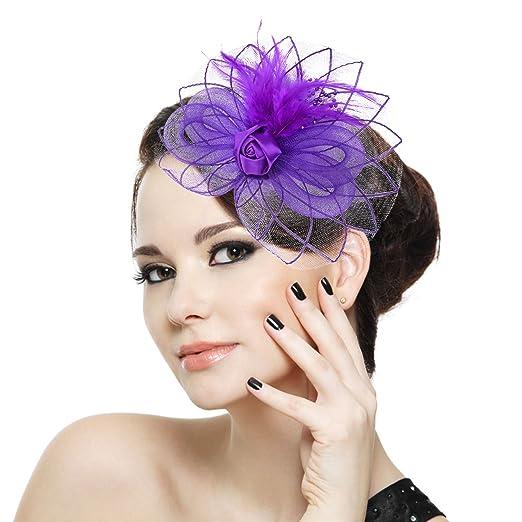 Fascigirl Luxury Wedding Party Prom Fascinators Loop Flower Feather ... c4cd7e72b1c