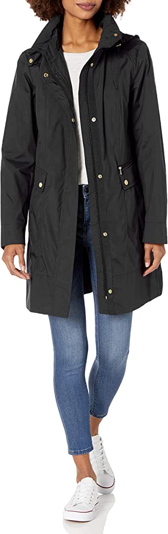 Cole Haan Women's Single Breasted Packable Rain Jacket with Removable Hood