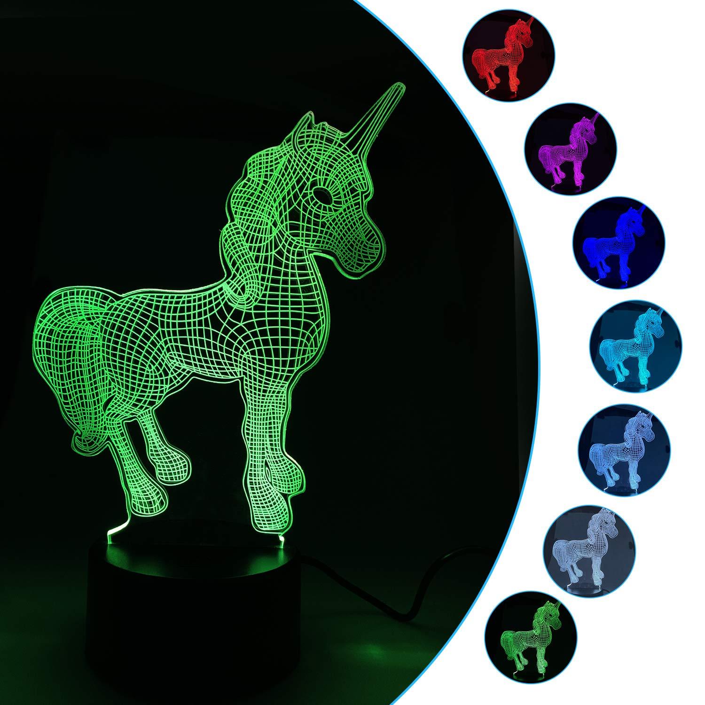 A-TION 3D Licorne Nuit Lumiè res Creative Cadeau De Noë l Acrylique 3D LED Lumiè re 7 Couleur Lampe De Dé coration De Table Lumiè res pour La Maison/Enfants Chambre/cadeau