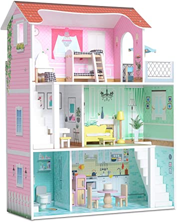 Milliard Wooden Doll House Includes 20 Furniture Pieces Large Three Level Dollhouse For Kids Amazon Co Uk Toys Games