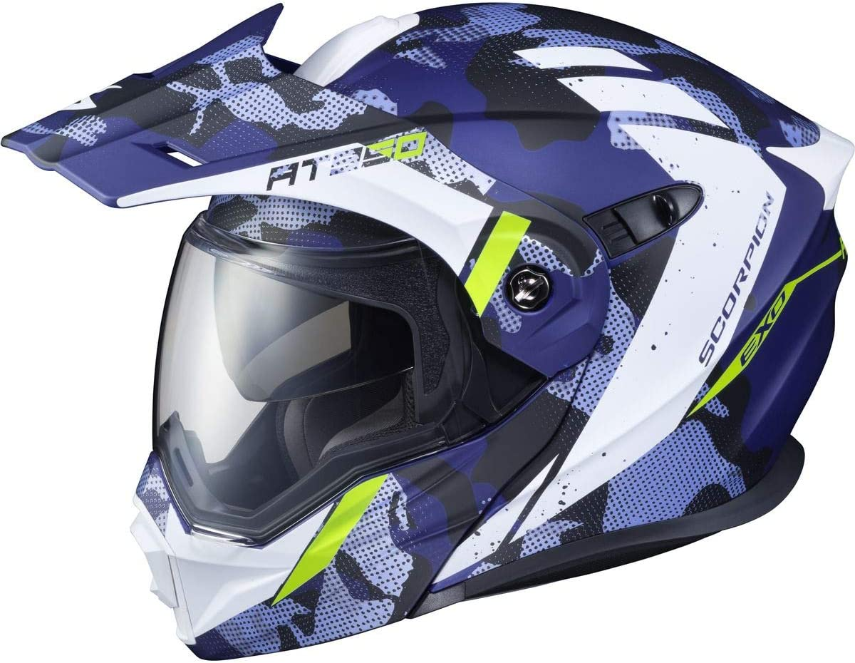 Scorpion AT950 Helmet Matte Blue X-Large Outrigger with Electric Shield