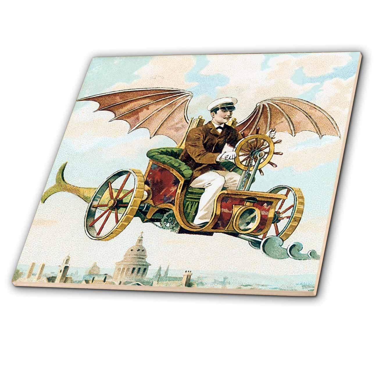 3dRose ct_102667_1 Vintage Steampunk Flying Machine Dirigible Design-Ceramic Tile, 4-Inch