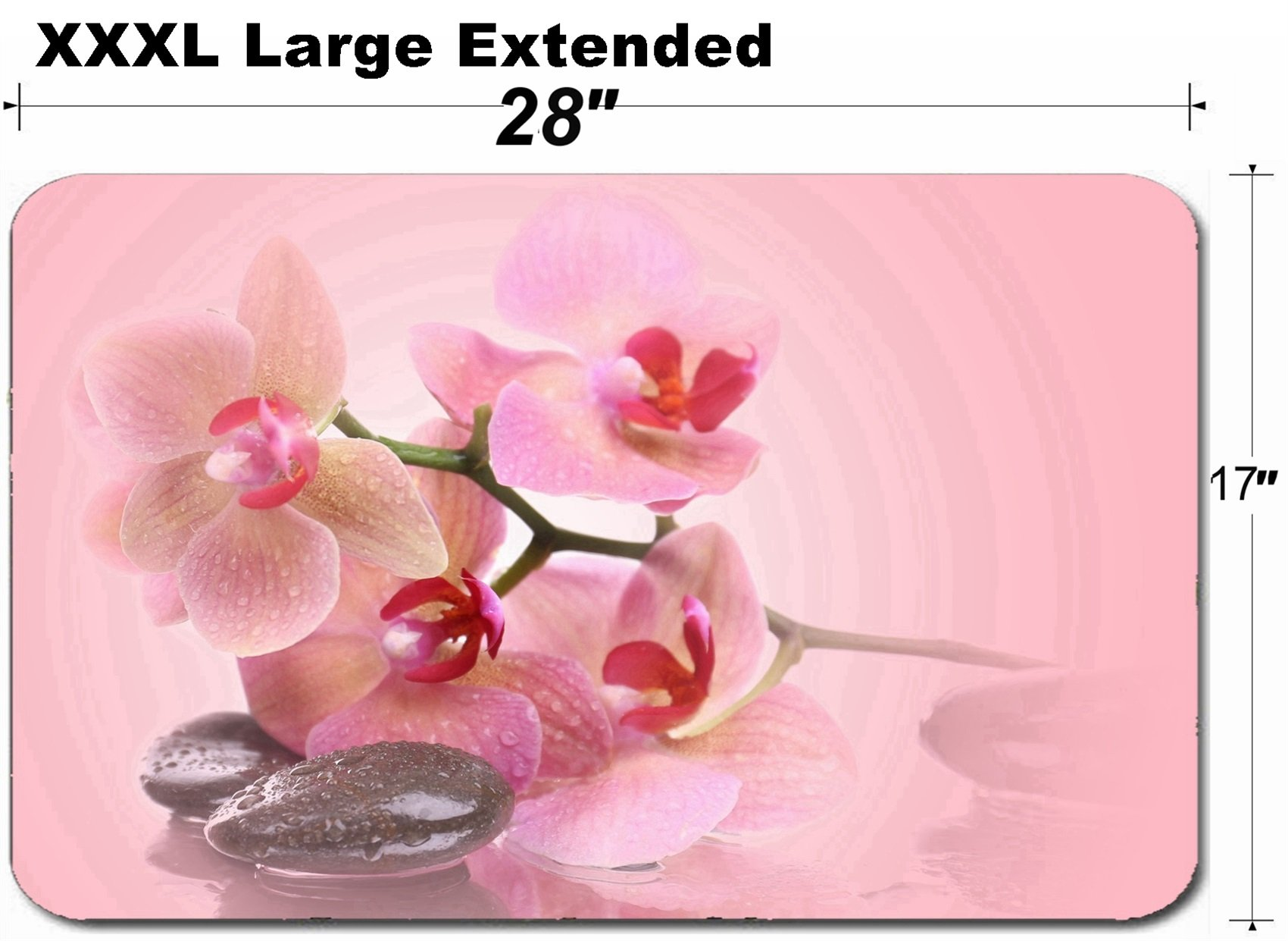 MSD Large Table Mat Non-Slip Natural Rubber Desk Pads Image ID 36276854 Beautiful Blooming Orchid with Spa Stones on Pink Background