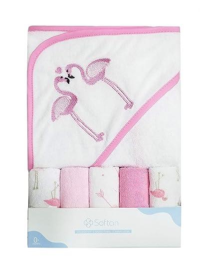 Softan - Toalla con capucha para bebé, con cinco paños de lavado para bebé,
