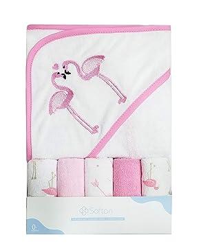 Softan - Toalla con capucha para bebé, con cinco paños de lavado para bebé, extra suave y ultra absorbente, gran regalo para recién nacidos y bebés ...